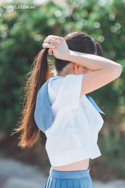 中学校や高校の学生服セーラー服での記念撮影